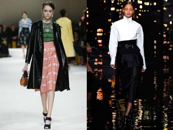 Модные юбки с завышенной талией осень-зима