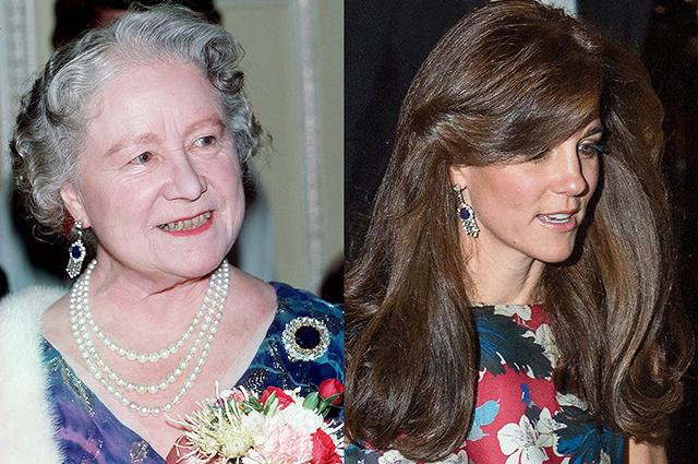 Королева-мать (Елизавета Боуз-Лайон) и Кейт Миддлтон