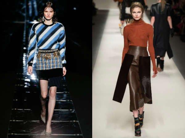 Модные юбки сложного кроя осень-зима