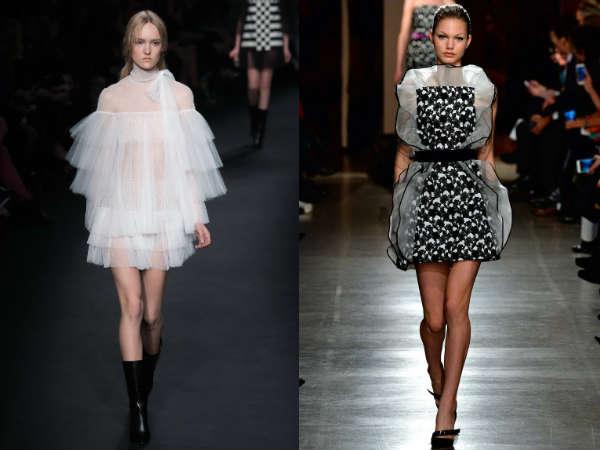 Отделка модных коктейльных платьев осень-зима