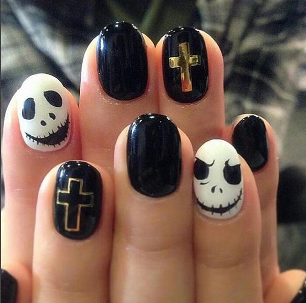 Черный и белый Маникюр для Хеллоуина