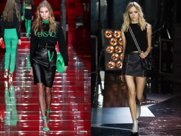 Модные кожаные юбки осень-зима