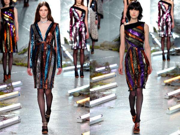 Модные сверкающие коктейльные платья осень-зима