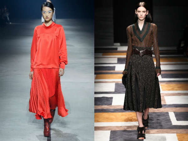 Модные юбки осень-зима: складки, бахрома, оборки