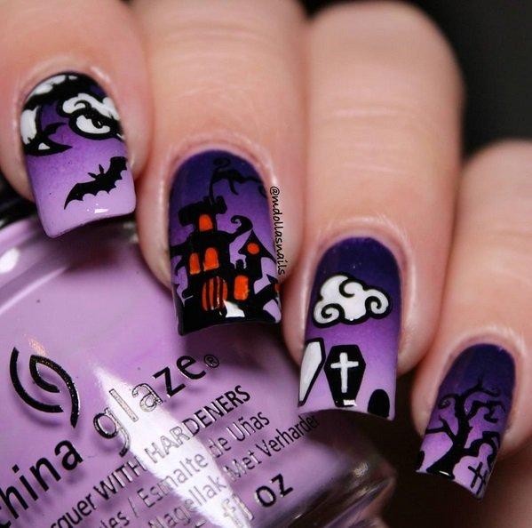 Фиолетовый и сиреневый Маникюр для Хеллоуина