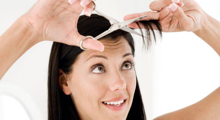 Как самостоятельно подстричь челку