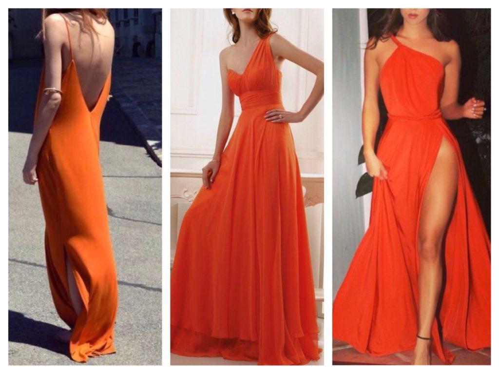 оранжевой длинное платье