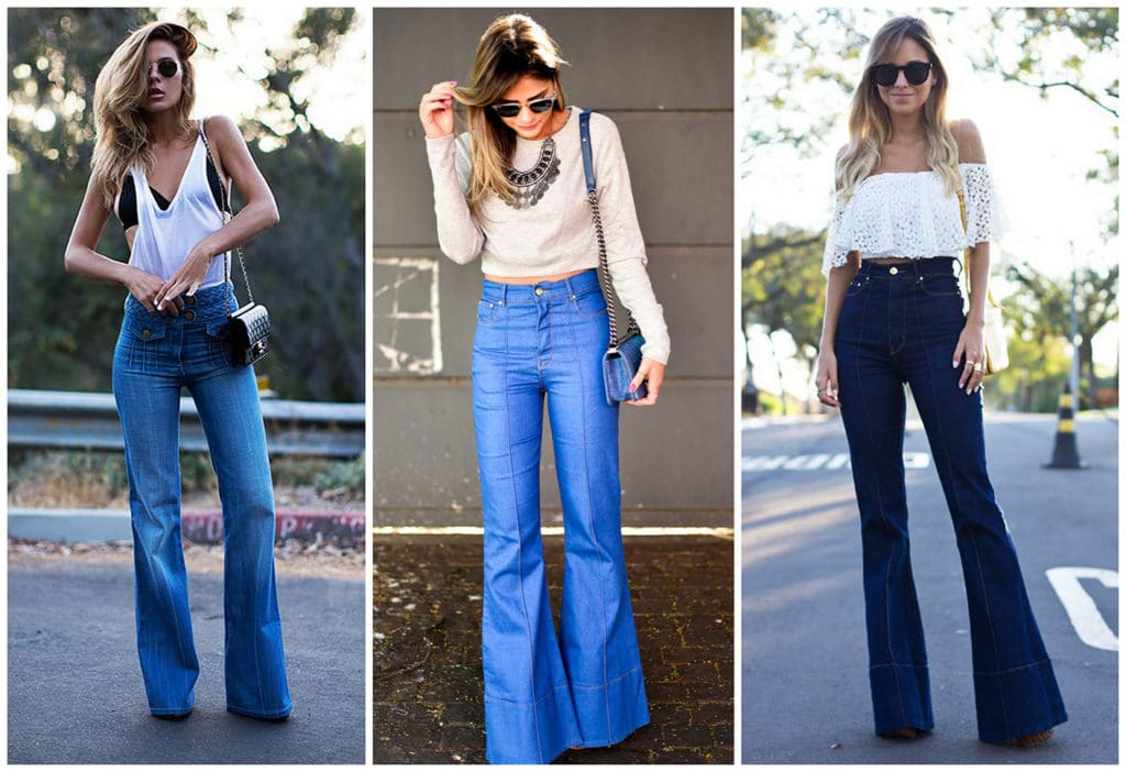 с чем носить голубые джинсы клеш