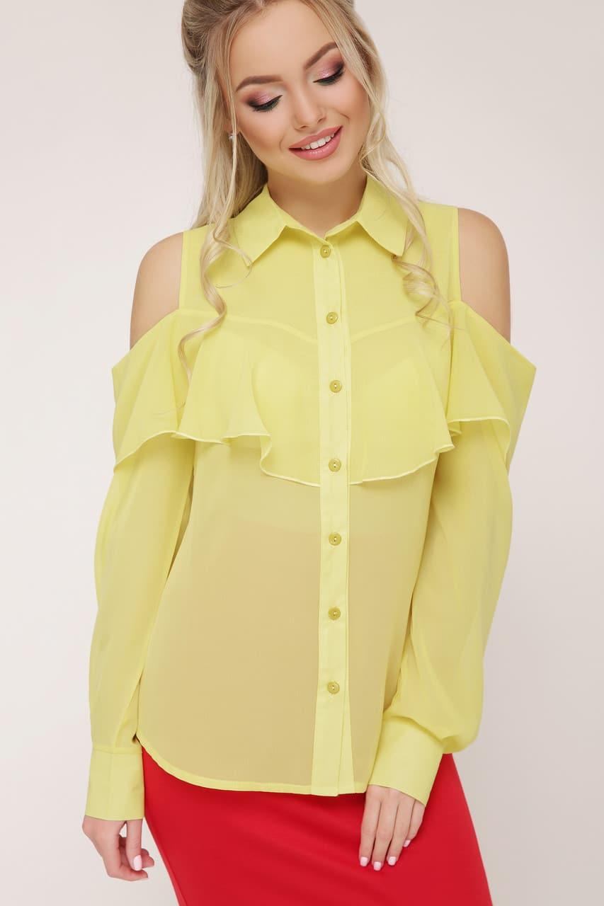 Летняя шифоновая желтая блузка с открытыми плечами