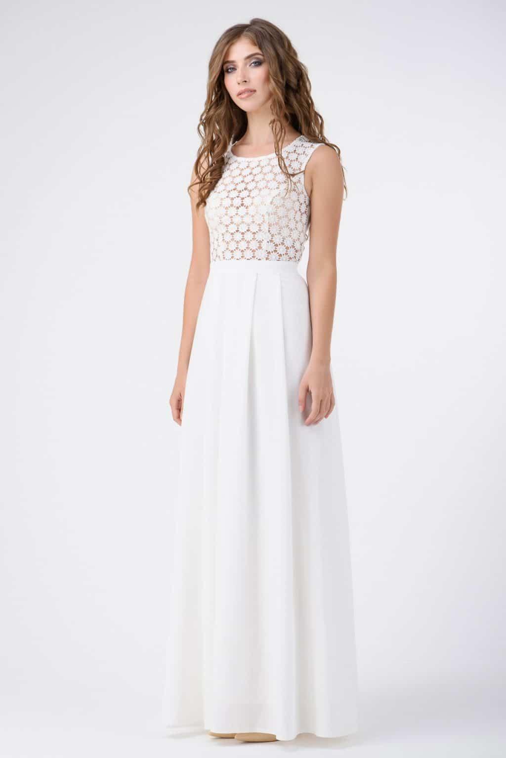 вечернее белое платье в пол