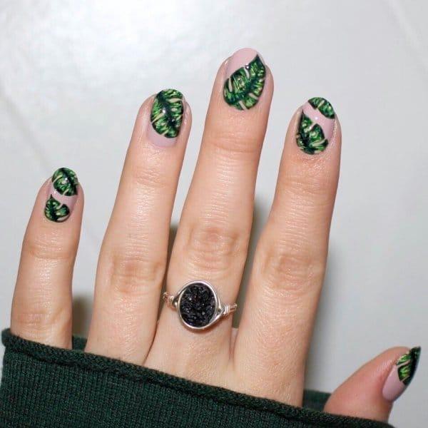 растительные узоры на ногтях
