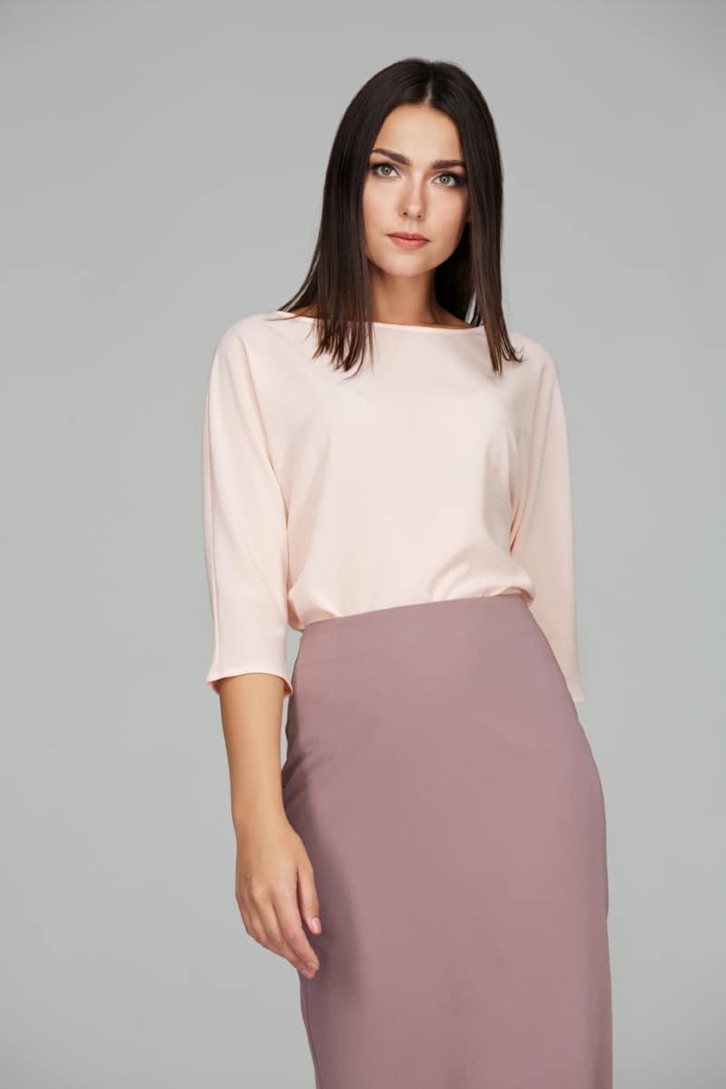 персиковая блузка из шифона
