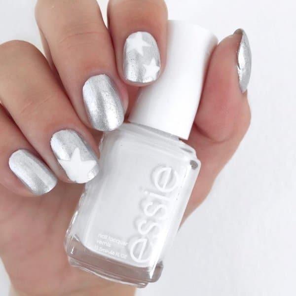 металлические серебряные ногти