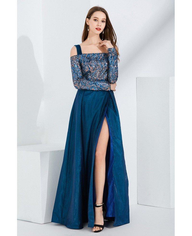 вечернее платья с удлиненным рукавом