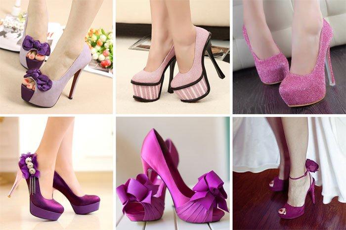 Сиреневые свадебные туфли