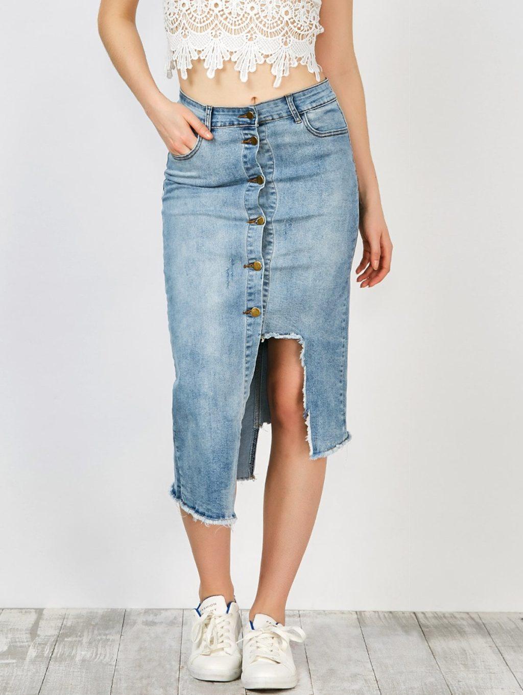 ассиметричная джинсовая юбка