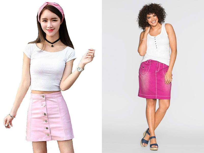 цветные джинсовые юбки