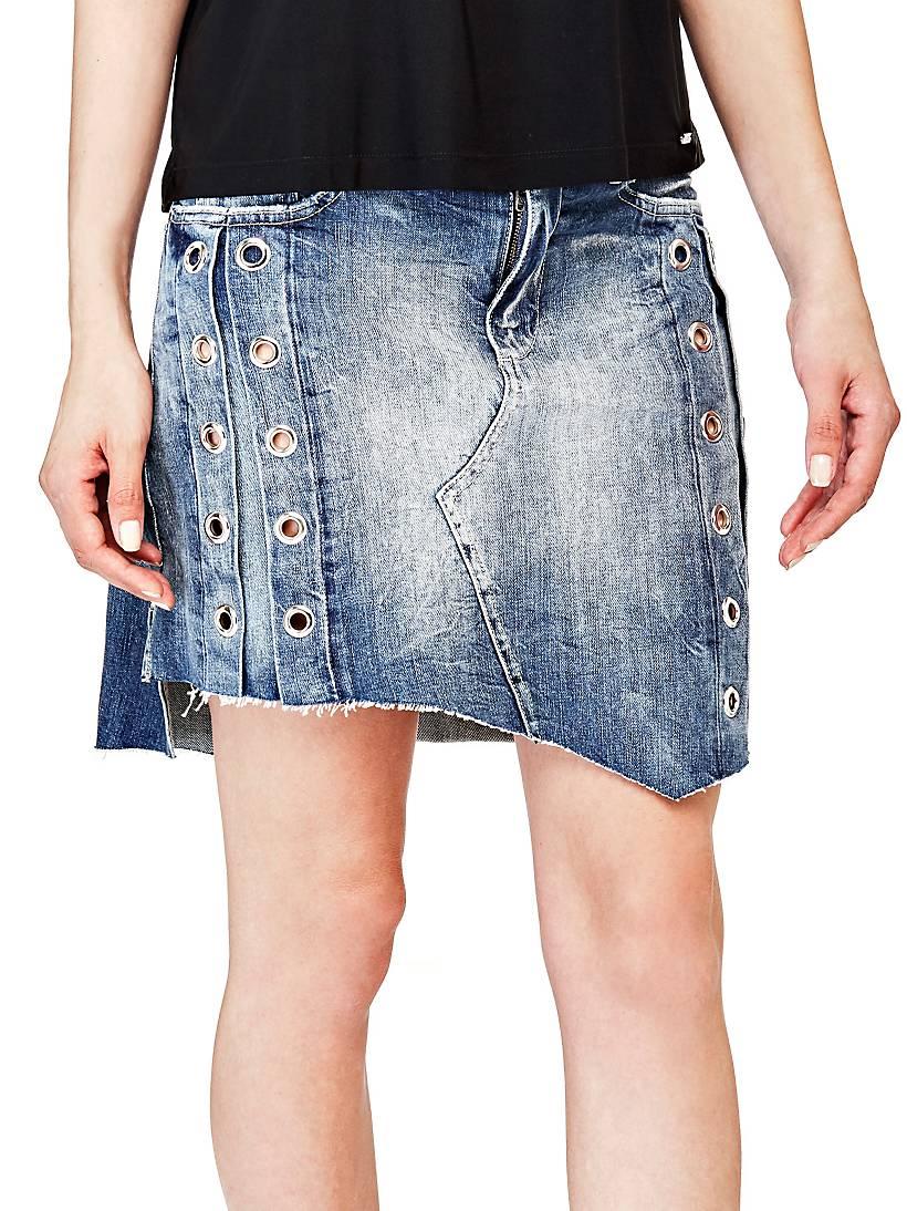 джинсовые юбки с заклепками