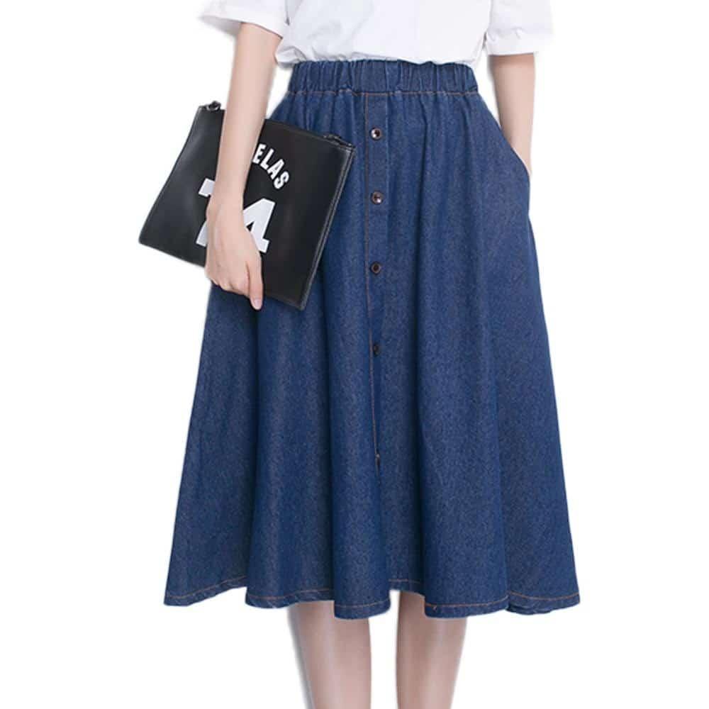 модные плиссированные джинсовые юбки