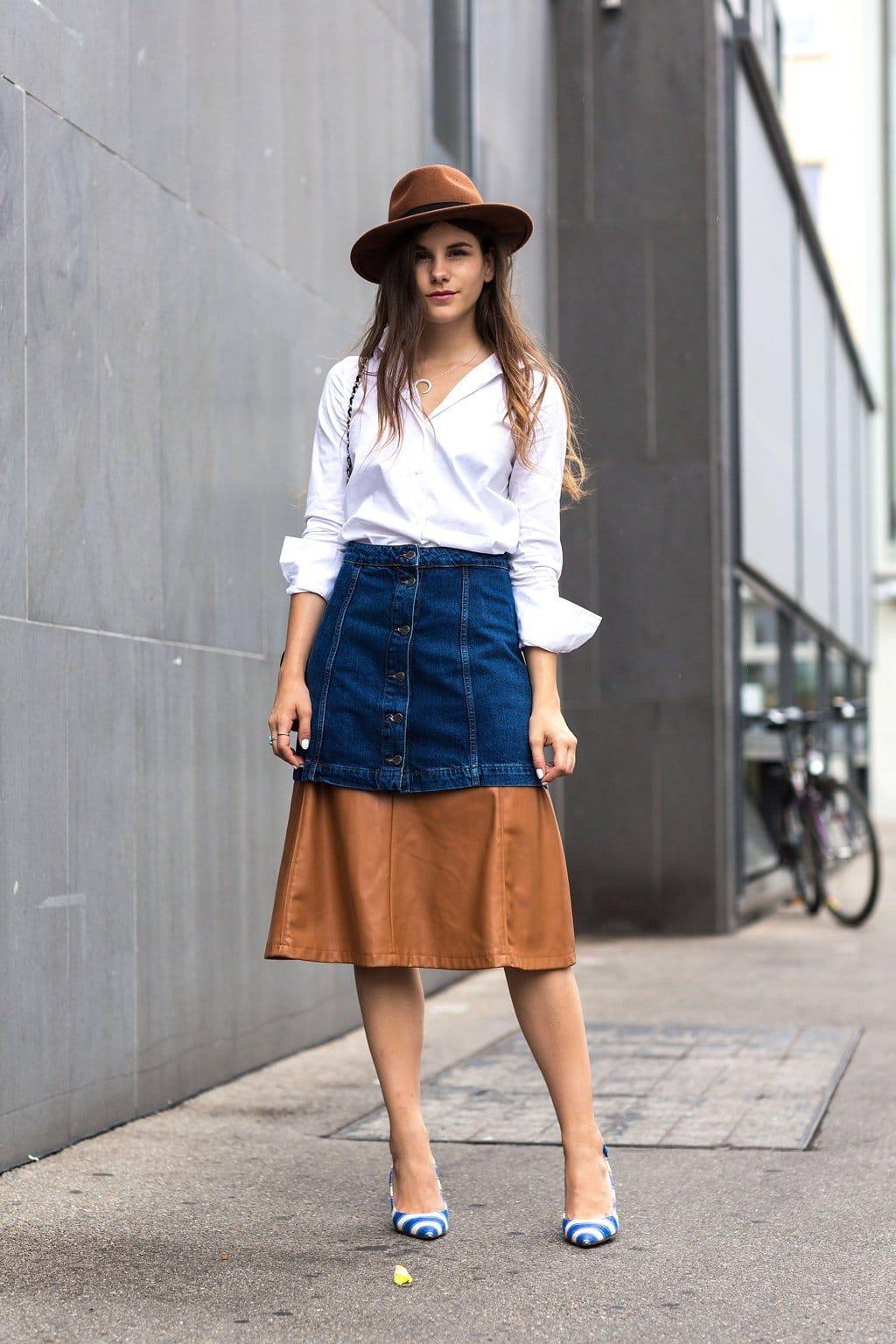 модная ярусная джинсовая юбка