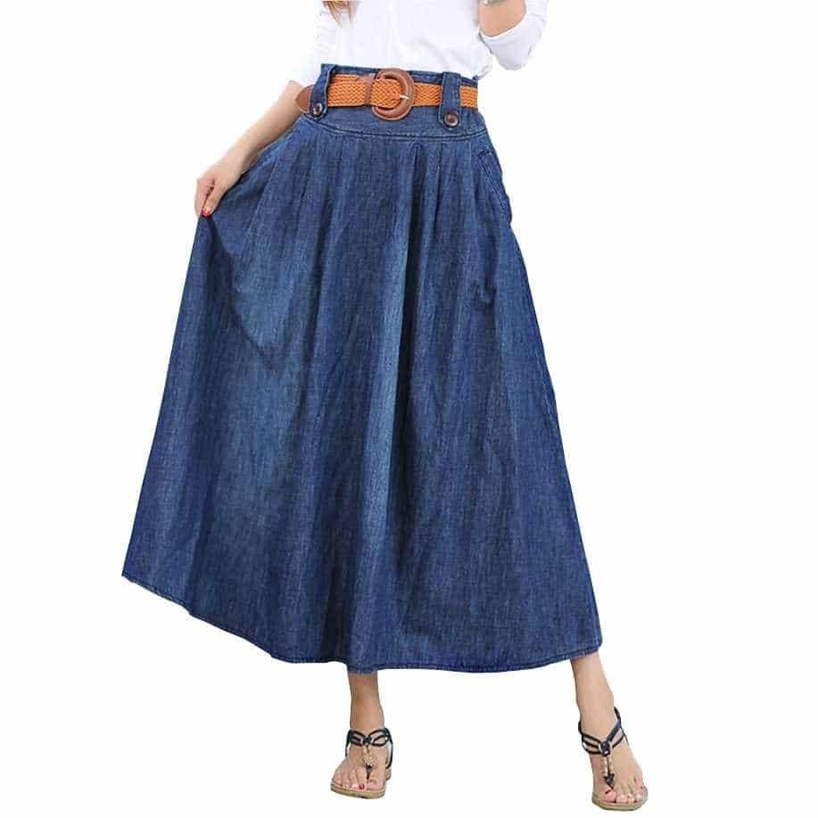плиссированные джинсовые юбки