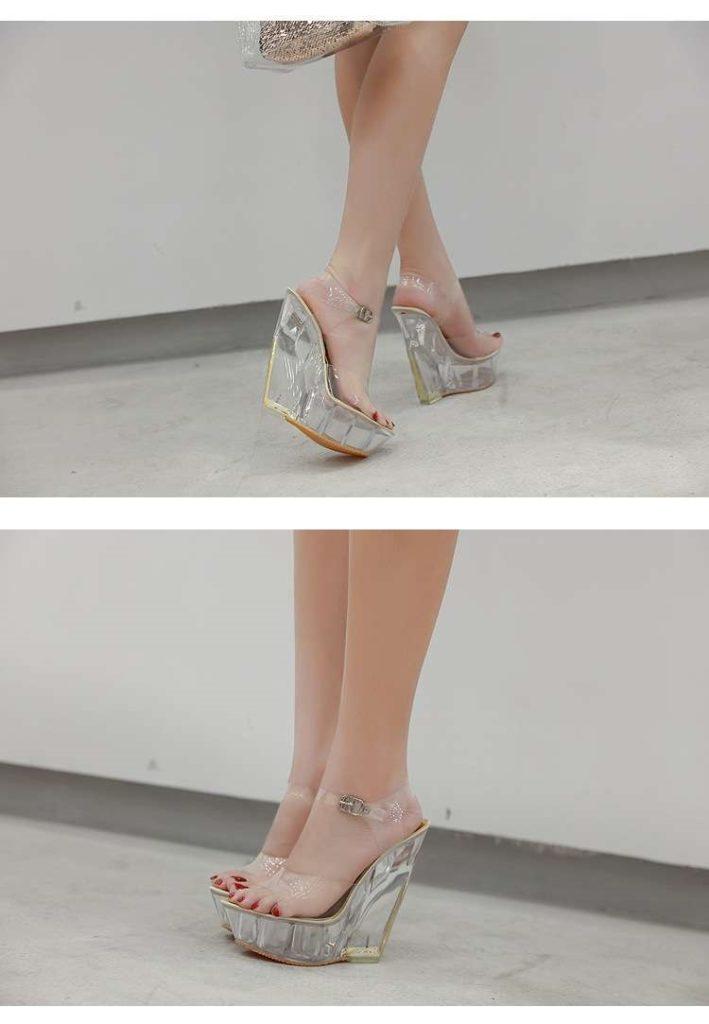 летние прозрачные сандали на каблуке
