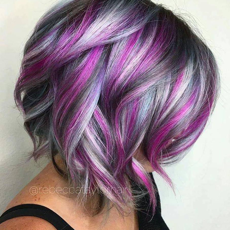 Платиновая пурпурная короткая стрижка