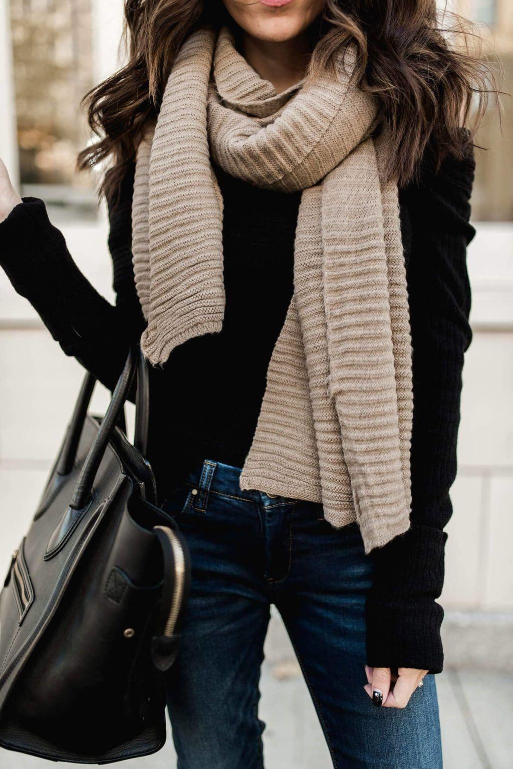 модный лук на зиму Черный и бежевый - цвета этой осени
