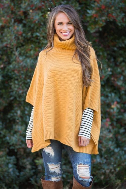 Модный образ с свитером-пончо в стиле oversize