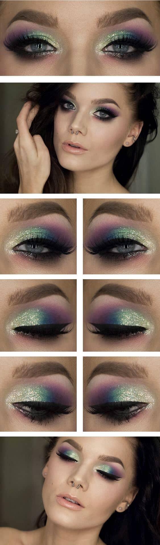 Оливковый макияж глаз с блестками