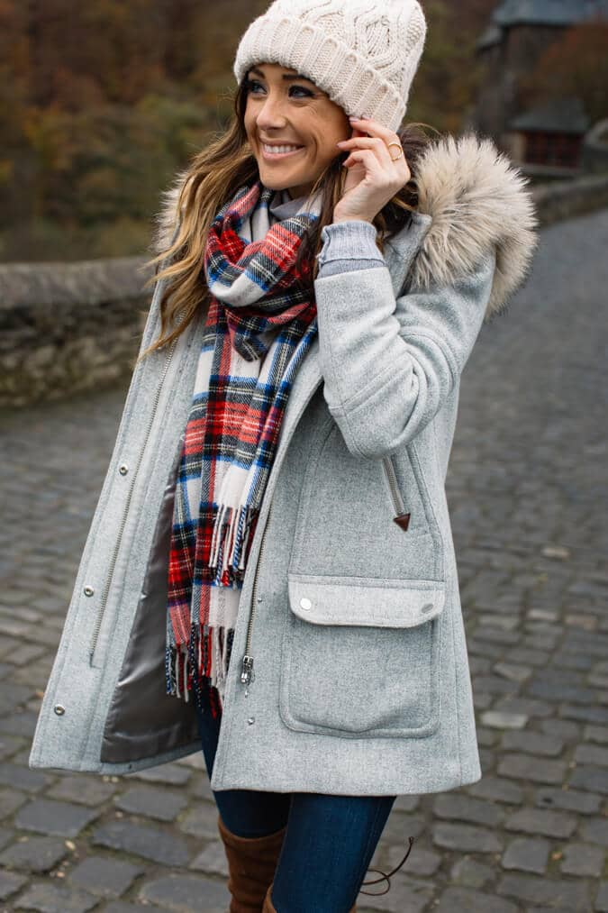 модный лук на зиму Шарф тартан, как неотъемлемая часть образа