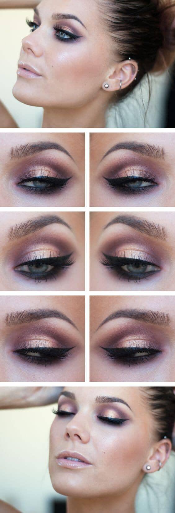 Макияж глаз розовое золото