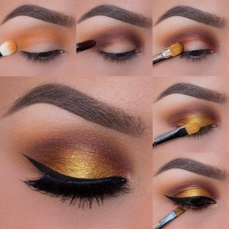 Золотистый макияж глаз