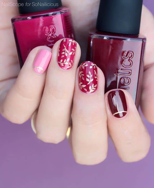 Разноцветый розовый маникюр на короткие ногти фото