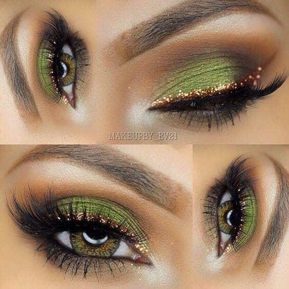 Оливковый макияж глаз с золотом