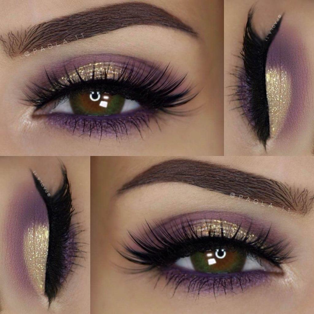 Золотой с фиолетовым макияж глаз