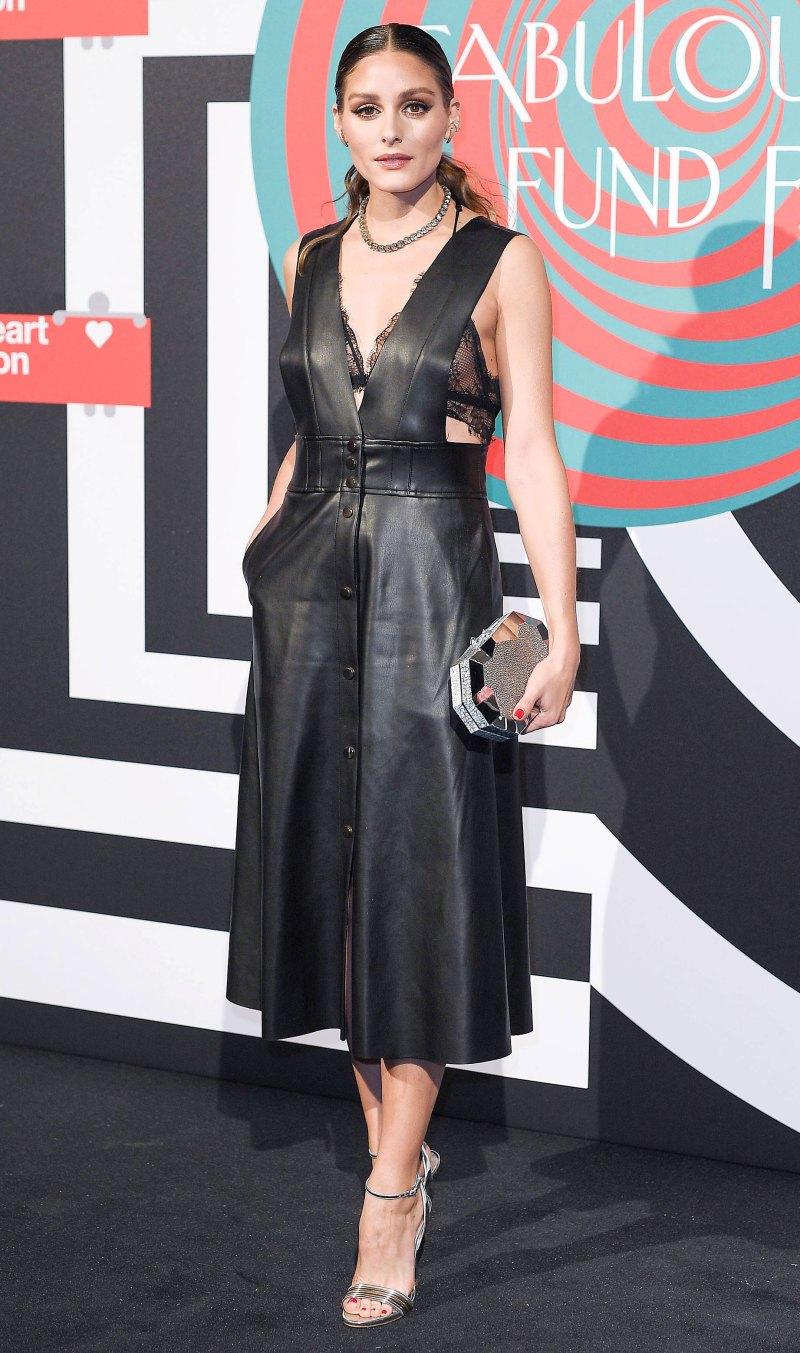 Оливия Палермо в кожаном платье