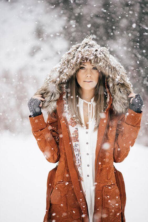 Модное зимнее платье с мехом