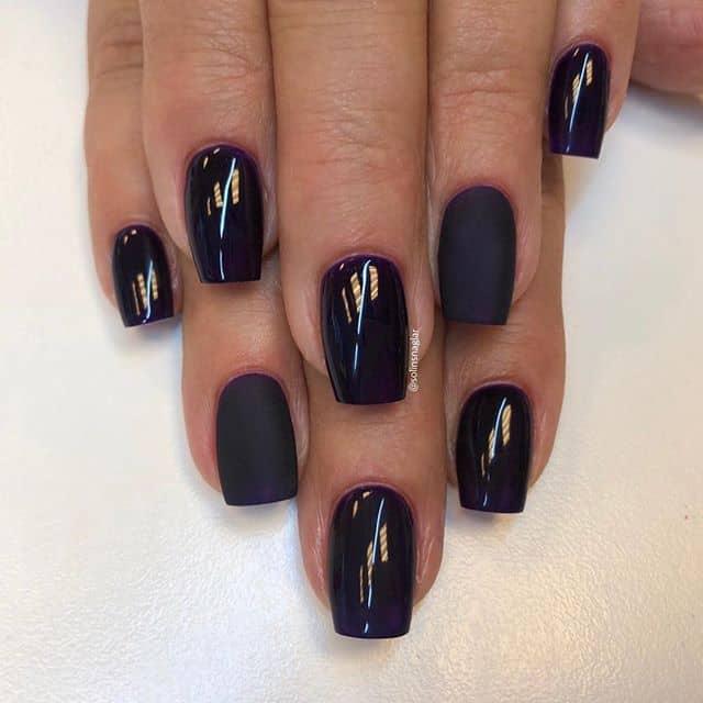Темный пурпурный маникюр на короткие ногти фото