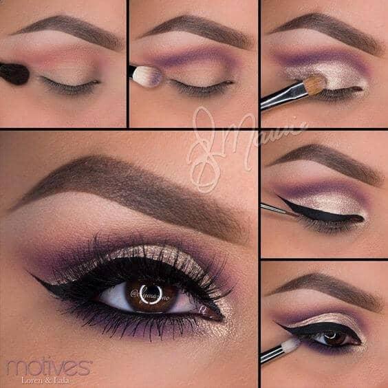 как сделать Фиолетовый блестящий макияж пошагово