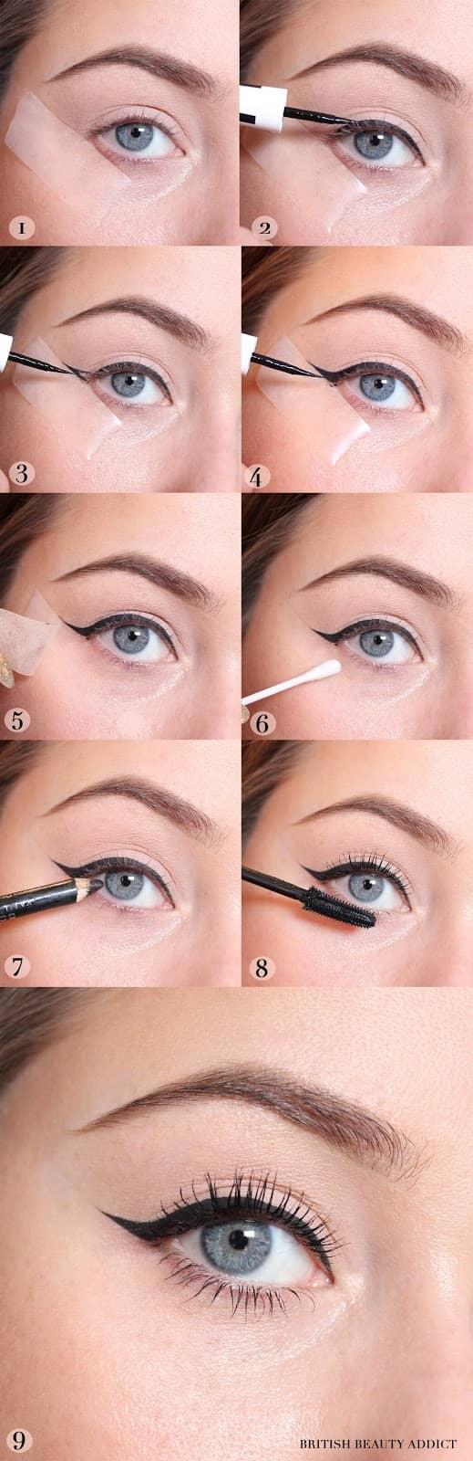 как сделать Макияж кошачий глаз пошагово