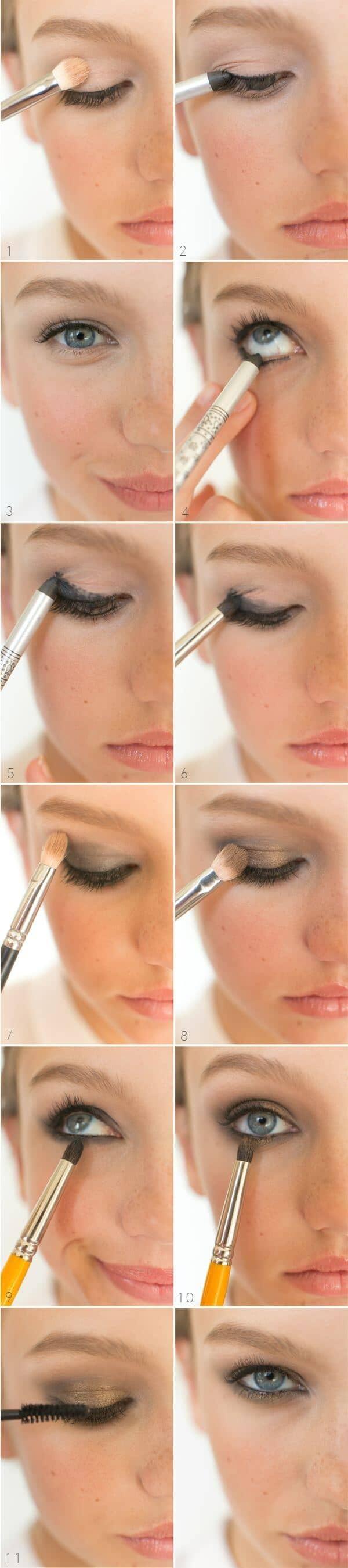 как сделать Металлический макияж глаз пошагово