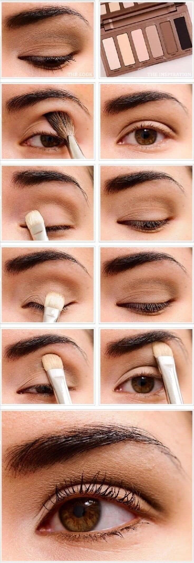 как сделать Нюдовый макияж глаз пошагово