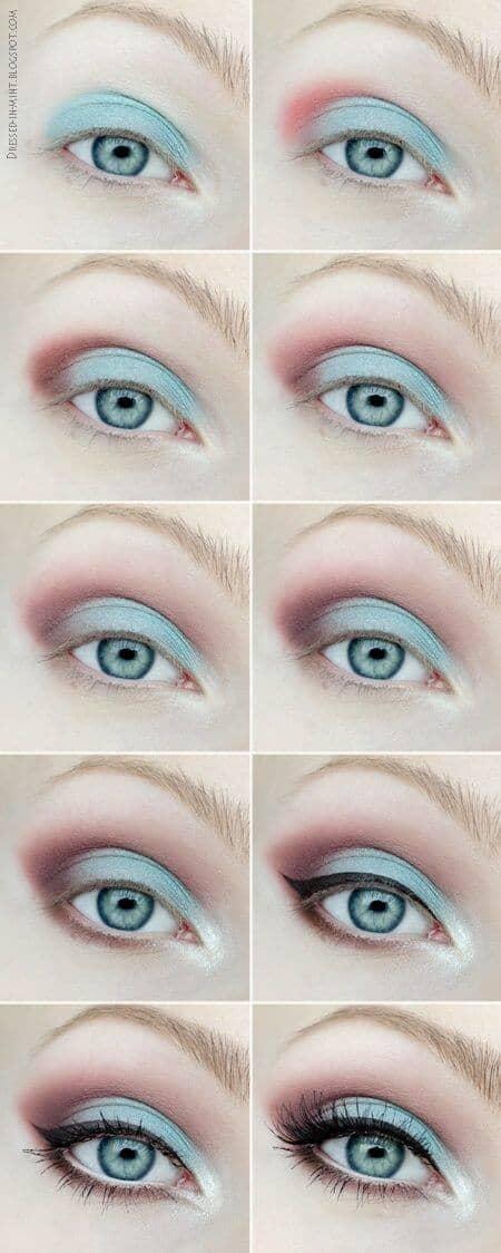 как сделать Пастельный макияж глаз пошагово