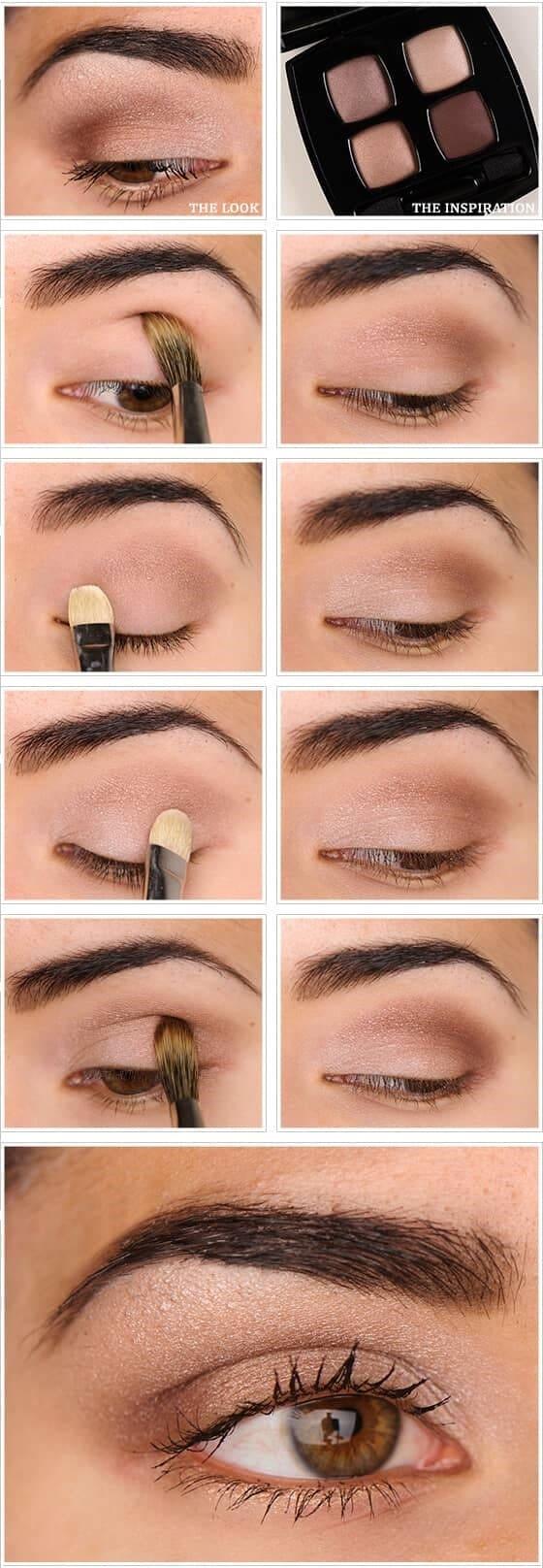 как сделать Светло-коричневый макияж глаз пошагово