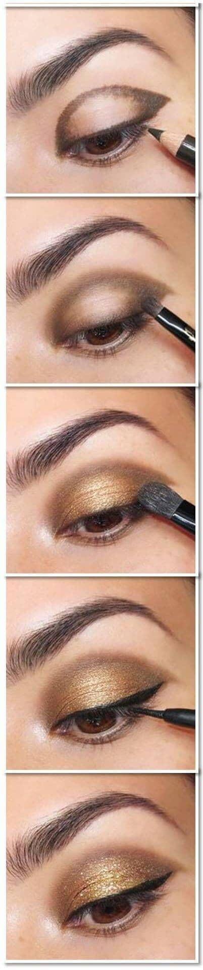 как сделать Золотой макияж глаз пошагово